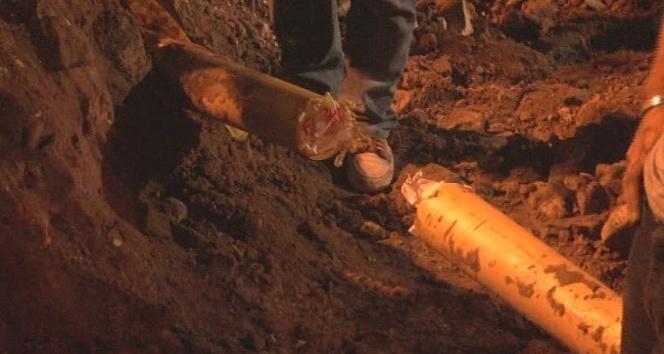 Tramvay hattı çalışmalarında doğalgaz borusu zarar gördü