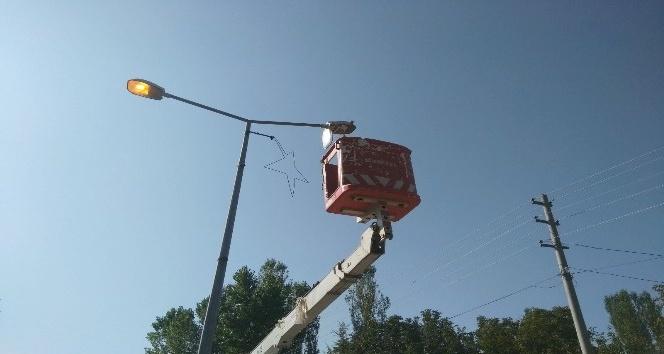 Sokak lambalarına bakım çalışması