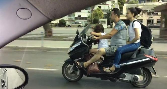 Ailesinin hayatını hiçe sayan sürücü kamerada