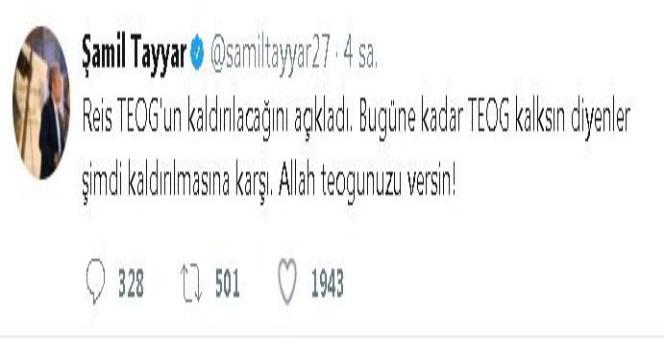 Şamil Tayyar'dan TEOG çıkışı