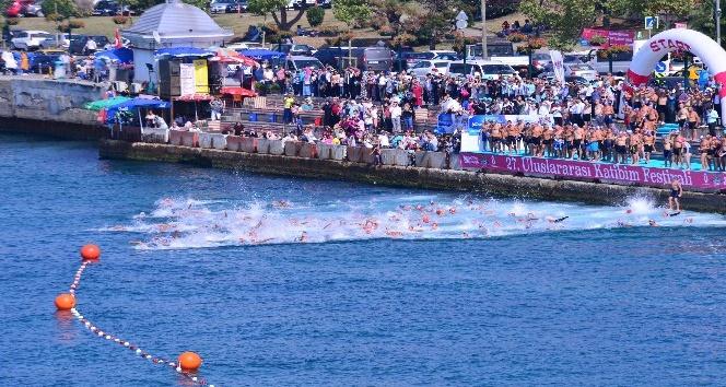 Üsküdar Kız Kulesi Yüzme Yarışları nefesleri kesti