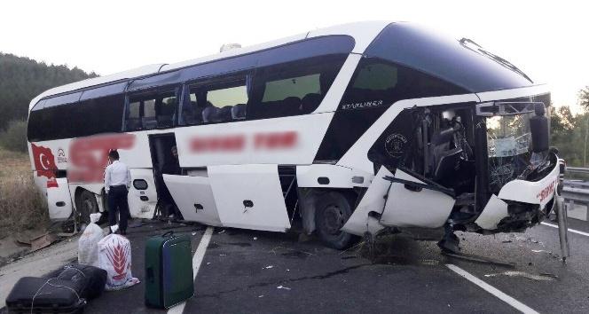 Yolcu otobüsü menfeze düştü: 13 yaralı