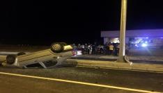 Tekirdağda otomobilin takla attığı kaza kamerada