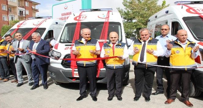 Karaman'a gönderilen üç yeni ambulans, göreve başladı