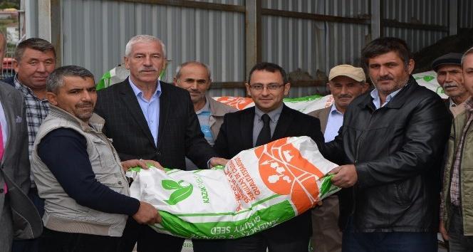 Alaçam'da korunga tohumu dağıtıldı