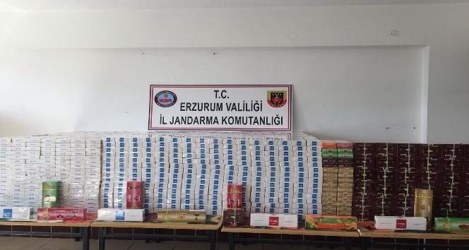 Erzurum'da 22 bin 700 paket kaçak sigara ile 37 bin gram tütün ele geçirildi