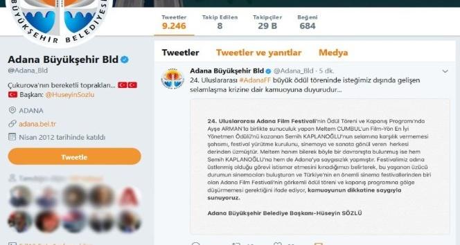 Adana Büyükşehir Belediyesi'nden Meltem Cumbul'a kınama