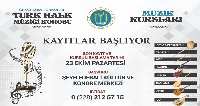 Müzik kursları ve Gençleşen Türküler Türk Halk Müziği Korosu için kayıtlar başladı