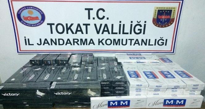 Tokat'ta valiz içerisinde kaçak sigara yakalandı