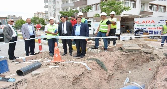 Aksaray'a 850 metre yağmur suyu hattı yapıldı