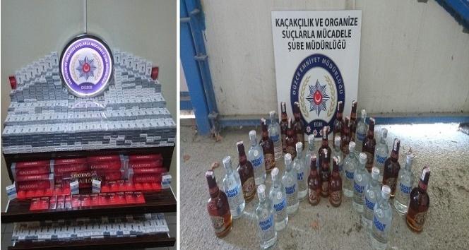 Düzce Emniyet müdürlüğünden kaçak içki ve sigara  operasyonu