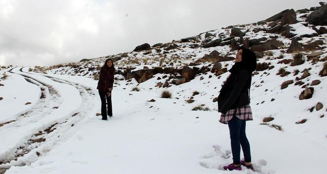 Kentin yüksek kesimlerde kar kalınlığı 5 santimetreyi buldu