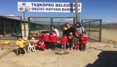 Minik öğrenciler, Geçici Hayvan Barınağını ziyaret etti