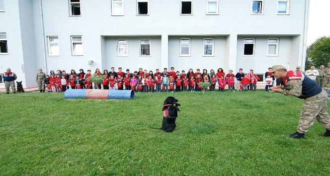 Narkotik köpeği 'Uydu' öğrencilerden alkış topladı