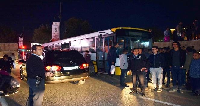 Freni boşalan otobüs paniğe neden oldu