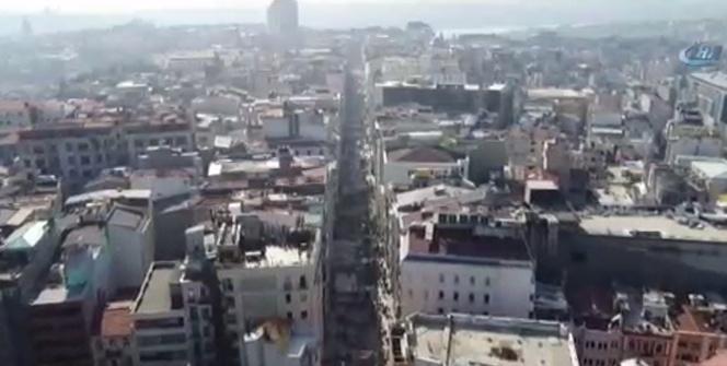 İstiklal Caddesindeki çalışmalar havadan görüntülendi
