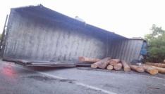 Tomruk yüklü kamyon devrildi: 2 yaralı