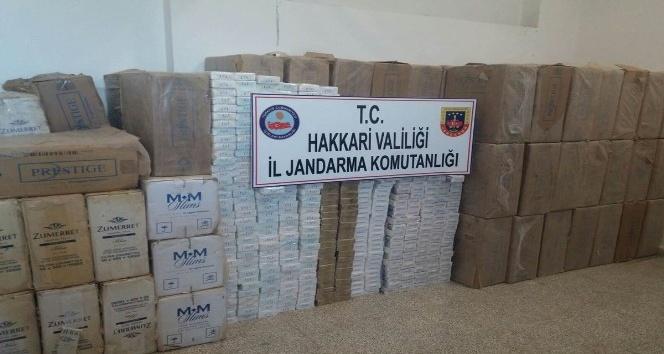 Yüksekovada 50 bin paket sigara ele geçirildi