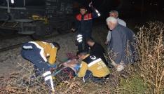 Yük treninin çarptığı alkollü şahıs yaralandı