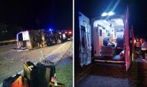 Turistleri taşıyan minibüs devrildi: 1i ağır, 5 yaralı