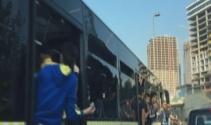 Fenerbahçe taraftarı belediye otobüsünün camlarını kırdı