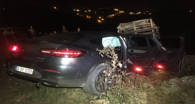 Beykoz'da otomobil uçuruma düştü; 1 yaralı