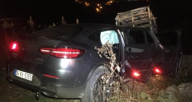 Beykozda otomobil uçuruma düştü; 1 yaralı