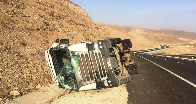 Pancar yüklü kamyon devrildi