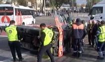 Bomonti-Dolmabahçe Tüneli çıkışında temizlik aracı devrildi