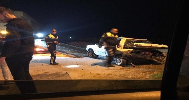 İlk önce köpeğe sonra önünde seyir eden otomobile çarptı: 2 yaralı