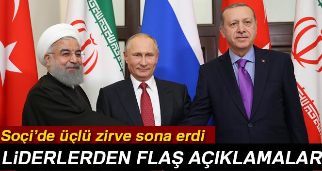 Soçi'de üçlü zirve sona erdi! Liderlerden flaş açıklamalar