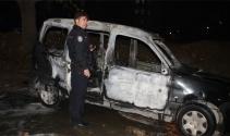 Ataşehirde park halindeki araç yandı