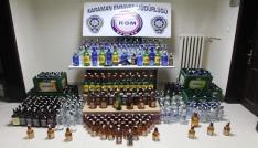 Karamanda çok sayıda kaçak içki ele geçirildi