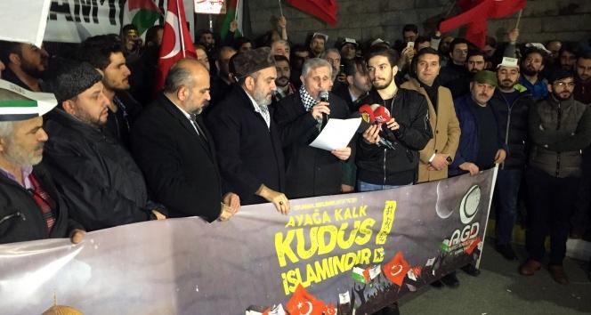 İstanbuldaki ABD Başkonsolosluğu önünde Kudüs protestosu