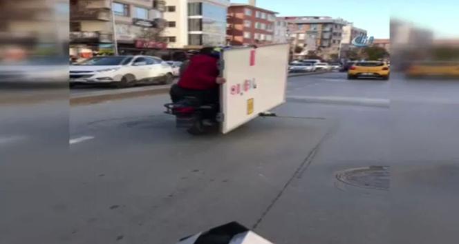 Motosiklet üzerinde akıl almaz taşıma