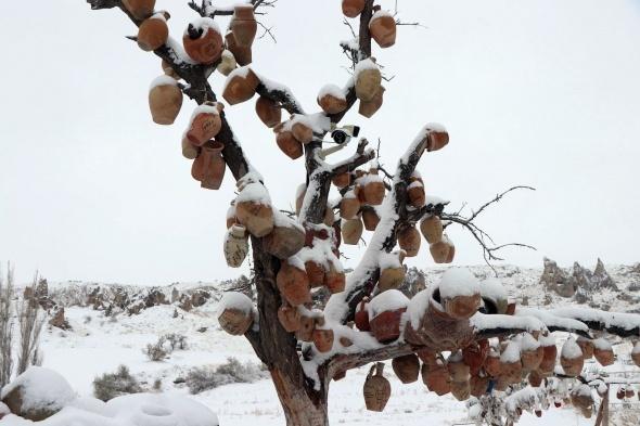 Kapadokya'dan muhteşem kar manzaraları