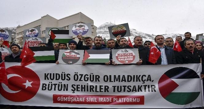 Gümüşhane'de STK'lar ABD'nin Kudüs kararını protesto etti