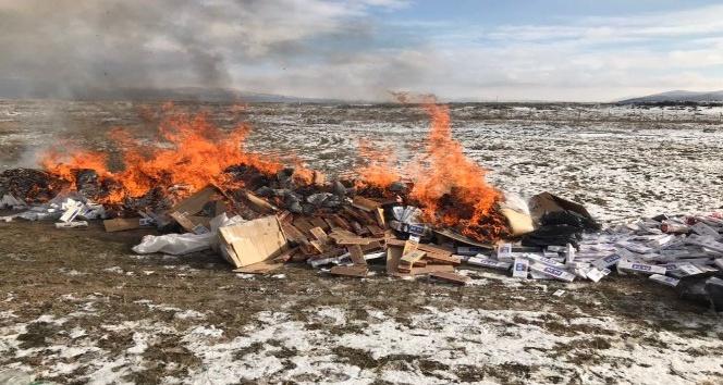 Aksaray'da 250 bin paket kaçak sigara yakılarak imha edildi