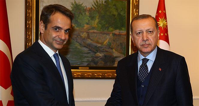 Cumhurbaşkanı Erdoğan, Yunanistan ana muhalefet partisi lideri Mitsotakis ile görüştü