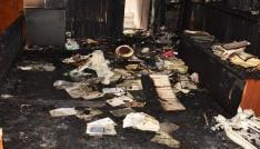 Çanakkalede çıkan yangında cami kullanılmaz hale geldi