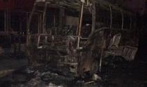 Büyükçekmecede otobüs alev alev yandı