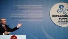 """Cumhurbaşkanı Erdoğan: """"İslam Dünyası olarak başkenti Kudüs bağımsız Filistin devletinden asla vazgeçmeyeceğiz"""""""