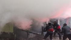Manifatura dükkanı alev alev yandı