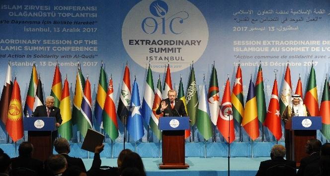 Cumhurbaşkanı Erdoğan, Filistin Devlet Başkanı ve İİT Genel Sekreteri ortak basın açıklaması yaptı