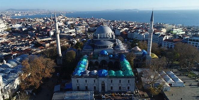 Beyazıt Camii'nin son durumu havadan görüntülendi