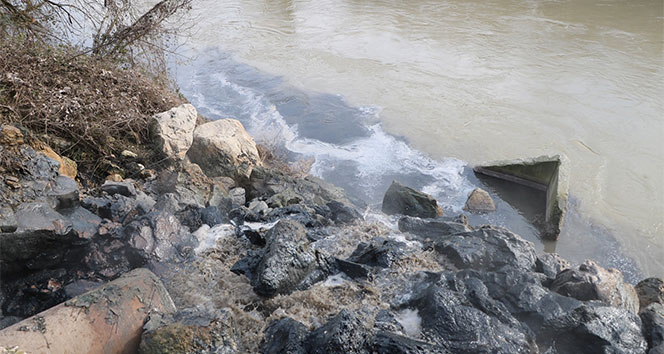 Sakarya Nehrine akan kimyasal atık nehri siyaha bürüdü