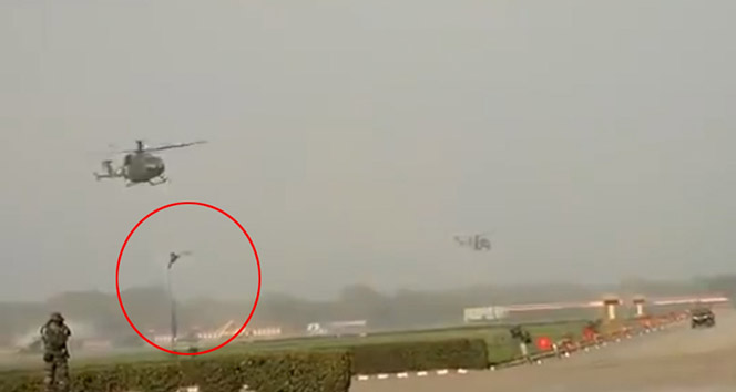 Helikopterden böyle düştüler