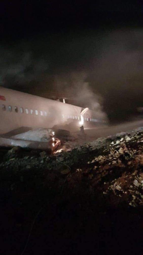 İşte Trabzon'da pistten çıkan uçağın görüntüleri!
