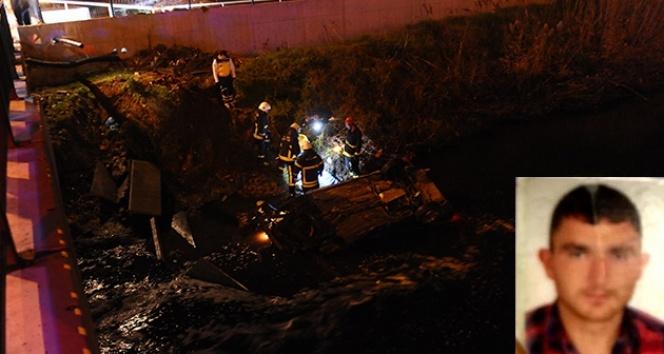 Bursada araç su kanalına uçtu: 1 ölü