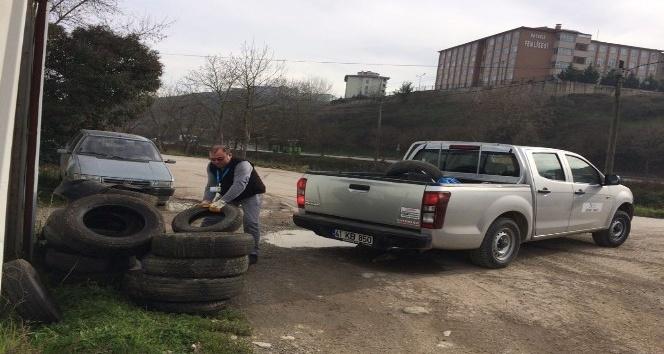 İzmit'te lastikler çevreye zarar vermeden toplandı